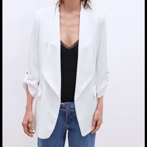 Zara NWT white blazer with French cuffs